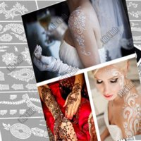 Wholesale 3pcs mehndi Indian henna tattoo stencil temporary Henna tatoo paste large template professional stencils for painting Kit