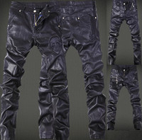 acid designs - High Quality Spring Winter Fashion HIP Mens faux leather pants zipper design sweatpants Skinny Motorcycle joggers casual PU trouser Jeans