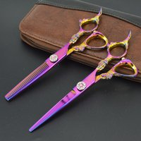 Wholesale 6 inch KASHO series Dragon Handle Professional Hair Scissors set Straight Thinning scissors set barber shears