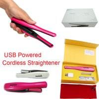 battery powered iron - Cordless Hair Straighteners Mini Flat Irons USB Powered Ceramic Travel Universal Rechargable Portable Hair Curler Retail Package
