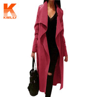 Wholesale Autumn Womens Ladies Europe Waterfall Belted Long Sleeve Trench Coat Celeb Style Elegant Long Trench Coat for Women