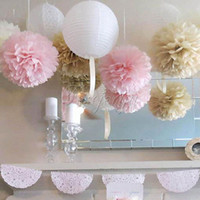 ball wall lights - 10PCS CM Hanging Ball Flower Decorative Tissue Paper Pom Poms Flower Balls Pompom Artificial Paper Flowers DIY Wedding Party Home Decor