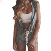 Wholesale Zanzea Fashion Womens Hooded Romper Sleeveless V Neck Jumpsuits Sport Ladies Casual Clothing Plus Size S XL