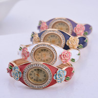 Wholesale Han edition of the new hot cloisonne fashion national wind gold plated set auger creative ladies watch bracelet