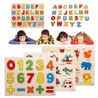 Wholesale baby cognitive wooden alphabet puzzles toys educational toys numbers animal jigsaw puzzle hand grasp plate in English