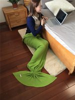 Wholesale Pure cotton knitted Mermaid blanket Sofa blanket Knitted Adult Crocheted Mermaid Tail Blanket Super Soft Handmade Cocoon Bed Bag