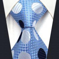 azure silver - Y5 Polka Dot Azure Silver Navy Silk with handmade Classic Men s Accessories Ties Necktie