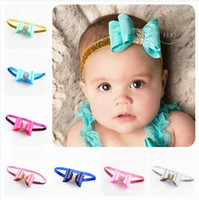 band sparkles - 16 Colors Baby Girls Hair Accessories Rhinestone Bows Glitter Headbands Princess Kids Hair Bands Handmade DIY Childrens Sparkle Sequins