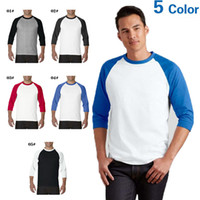 baseball tees for men wholesale - Spring Autumn Raglan Sleeve t Shirts For Men Cotton Baseball Sports Mens t Shirts Jersey Crew Neck Blank Tee Shirt
