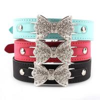 al por mayor xs arco perro-Al por mayor-mejor precio para el collar del gato de cuero collar de perro de Bling del arco cristalino del collar del animal doméstico del perrito Gargantilla XS S M