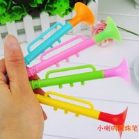 Wholesale Hot Funny Novelty Cute Stationery mm Blue Ballpoint Pen Kawaii Students Gift Creative Pen Kids Toy Trumpet