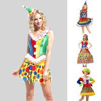 adult female clown costume - Hot Sale Fantasy Women Clown Costume Fancy Female Performance Dress Adult Funny Circus Clown Cosplay Clothing SW0319