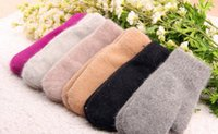 Wholesale 7 Colors Real rabbit fur winter warm women gloves mittens thicken double layer outdoors knitted wool gloves