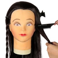 Wholesale New Arrival Human Hair Hairdressing Practice Training Inch Long Brown Mannequin Clamp Model with Clamp Stand On Sale