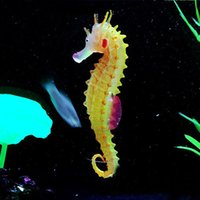 Wholesale Environmental and friendly Luminous Sea Horse Hippocampus Aquarium silicone Fish Tank Decoration brand new G01394