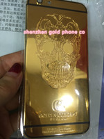 backing plate door - 24Kt ct real Gold skull Plating Back Housing Cover Skin Battery Door For iPhone Luxury Limited Edition Kt Golden for iphone6