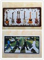 beatles signed guitar - 2PCS THE BEATLES and Guitar Metal Tin Sign License Plate Man Cave Home Bar Wall Decor Plaque Art Poster