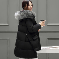 artificial wave - winter jacket women slim artificial fur collar thickening coat hooded medium long down parka plus size outwear casual overcoat