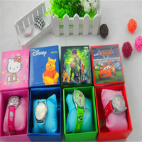 Wholesale Kids Cartoon Watch Frozen Kitty Despicable Me Mickey Jelly Candy Quartz Wristwatch Students Gift Watches With Retail Package