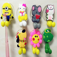 Wholesale Multifunctional Cute Cartoon Animal suction cup Toothbrush Holder Hooks Bathroom Accessories Colors H1144