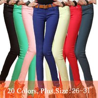 Wholesale Fashion Women Sexy Candy Color Pencil Pants Casual pants Skinny Pants Summer Trousers jeans