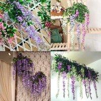 Wholesale 12Pcs Artificial Wisteria cm cm Colors Silk Artificial Flowers Plants Ivy Vine Hanging Garland for Party Wedding Home Decor