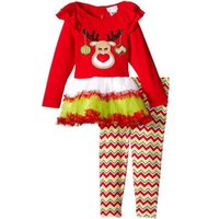american girl news - European Style Christmas Deer Outfits News Autumn Girl Long Sleeve Skirt T shirt With Stripe Long Pants Sets Kids Santa Claus Outfits