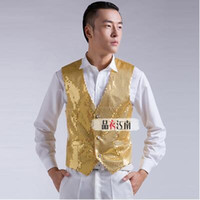 Wholesale Stage DS street dance jazz singer singer sequined vest men suit host clothing