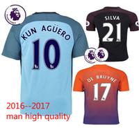 Wholesale Top quality Manchester City soccer Jerseys KUN AGUERO DE BRUYNE STERLING SILVA TOURE YAYA Home Away rd football shirts