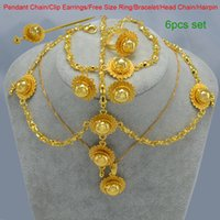 Wholesale Women Ethiopian Jewelry set k Gold Plated Hair Pice Pendant Chain Earing Ring Hair pin Bracelet Girl Eritrea Africa Wedding