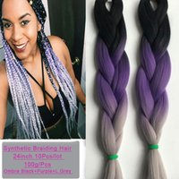 Wholesale 10Pcs Ombre Kanekalon Braiding Hair Purple Grey Synthetic Jumbo Braiding Hair Inch Grey Braiding Hair