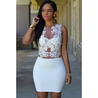 Wholesale New Sexy Sizzling Floral Lace Bodice Mini Club Dress Applique Sheer Mesh Patchwork Dress For Plus Size Women