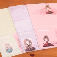 Wholesale Letter Paper Envelope Cololrful Lovely Girls Beautiful Garden Printed Writing Paper Korean Stationery For Students WZ
