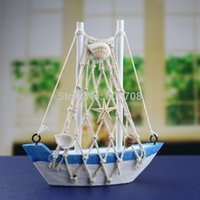 Wholesale Mediterranean style wood handmade sailboat model cotton net sailboat model home decorations crafts