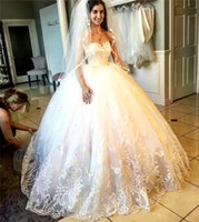 attractive dress - 2017 Attractive Appliques Beads Wedding Dresses Sweetheart Neckline Lace Edge Bridal Gowns Floor Length Wedding Gown