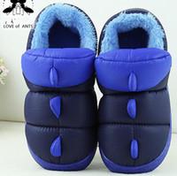 baby ugg boots - 2016 Winter Waterproof Little Monster Winter Plus Velvet Warm Child Middle Child Cartoon Baby Home Baby Shoes Indoor Outdoor