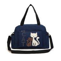 big cat shoulder - 2016 Women Handbags Solid Color Canvas Bag Fashion Ladies Shoulder Bag With Cute Cat Appliques Portable Big Capacity Casual Tote