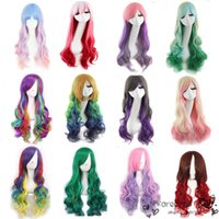 Wholesale Promotion long wavy ombre color ladies synthetic hair wig green rainbow color japanese kanekalon fibre anime cosplay wig peruca