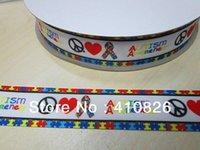 autism grosgrain ribbon - ribbon inch mm Autism Awareness printed grosgrain ribbon webbing yards roll for headband hair tie