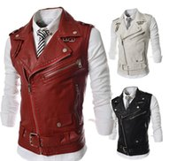 Wholesale 2016 New Arrive Men s Vests Casual Slim Fit Vests Man Outerwear Brand Clothing tops sleeveless Vets Leather Lapel Vest Jacket Coats