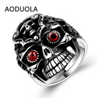 antique ruby diamond ring - The Individualized Punk Style Retro Ring Men s Unique Fashionable Vintage L Stainless Steel Red Diamond Eye Ghost Antique Jewelry Rings