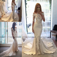 arabic holidays - Steven Khalil Summer Holiday Lace Stain Beach Sheath Wedding Dresses Pallas Couture Dubai Arabic Off shoulder Cheap Wedding Gown