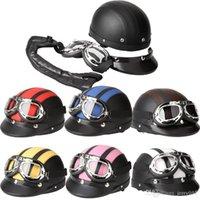 Wholesale Men Women Motorcycle Helmet Open Face Bike Bicycle Helmet Scooter Half Leather Helmet with Visor Goggles Retro cm