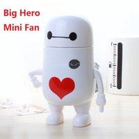 baby fan gear - 2016 summer hotsale big hero mini handheld fan practical portable cute heart baymax fan for children fan women men