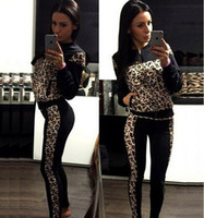 Wholesale Women s autumn winter sexy zipper cardigan tracksuits casual long sleeved jacket coat female new Leopard print two pieces sports suit