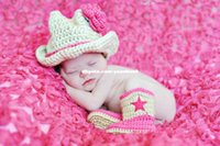 baby cowgirl boots - Newborn Girl Cowboy Cowgirl Flower Hat Boots Baby Clothings Baby Photography Prop Handmade Crochet Knitted Costume Baby Gift animal backpack