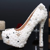Wholesale Sex Dress High Heel - Luxury New White Pearl Crystal Wedding Shoes Bride Fashion Evening Dress Shoes 14cm High Heel Waterproof Pumps Sex Handmade Shoes