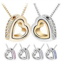 attraction pendant - Contracted Double Heart Necklace New lovely Crystal Pendant Inlaid Rhinestones double heart attraction heart shaped pendant necklace