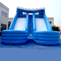 water slide - AOQI Popular pvc tarpaulin double commercial outdoor slide adult and kid inflatable pool water slide big water slide for promotion