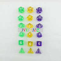 Wholesale 18pcs DND Table BOARD GAME Dungeons Dragons number dice Color Transparent GREEN PURPLE YELLOW Party Children dices WITH BAG IVU